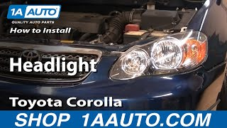 How To Install Replace Headlight Toyota Corolla 03-08