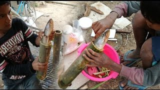 Bamboo Fish Food - Two Children Cook Fish Inside Bamboo In My Village