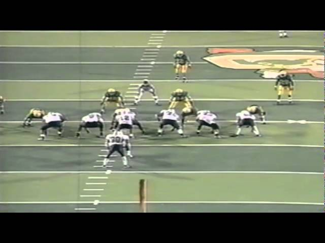 Oregon LB Peter Sirmon crushes Arizona's QB from the blindside for a sack 9-04-1997