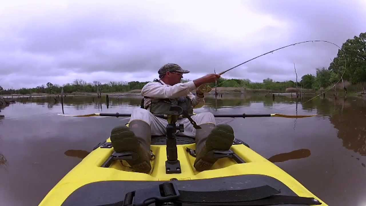Kayak fly fishing for bass youtube for Fly fishing kayak
