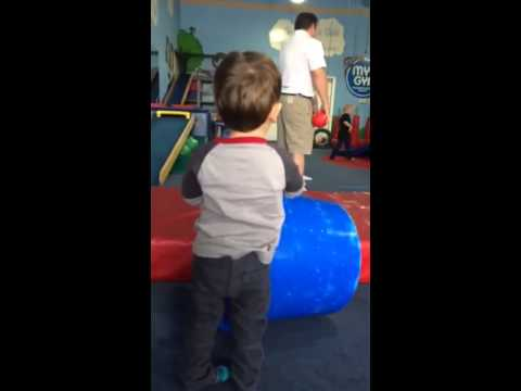 Luke shooting hoops at Jackson's birthday party Nov. 2013