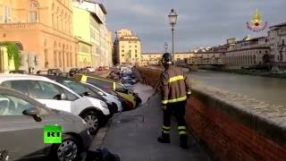 Dozens of cars collapse into 200-meter-long sinkhole in Florence, Italy