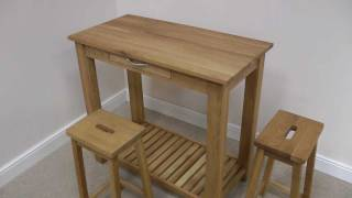 & Tutbury oak breakfast bar table stool set - YouTube
