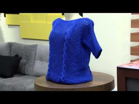 Mulher.com 22/09/2014 - Blusa Trico Azul La Tododia por Vitoria Quintal - Parte 1