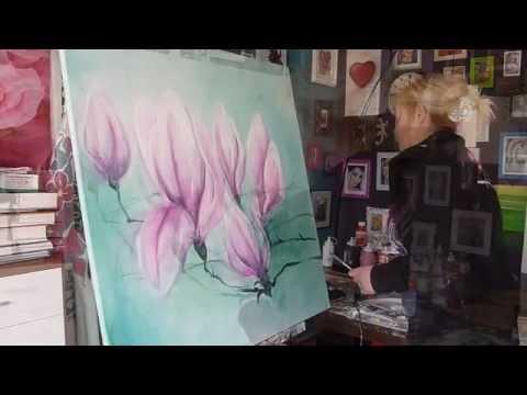 dominika baum malt eine magnolie youtube. Black Bedroom Furniture Sets. Home Design Ideas