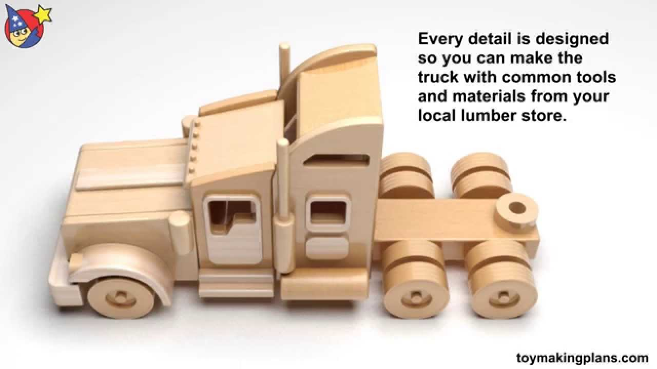 Wood Toy Plans - Famous Kenworth Semi Truck and Trailer - YouTube