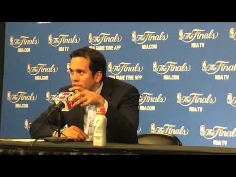 Miami Heat coach Erik Spoelstra speaks after NBA Finals Game 1 loss to Spurs