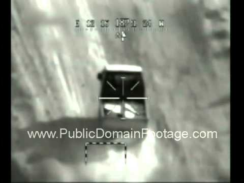 Apache helicopter detroys Bongo truck transporting mortar system - Iraq War 2008 archival footage