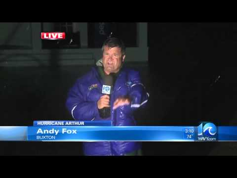 Andy Fox reports on Hurricane Arthur from Buxton