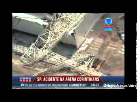 Aerial view of collapsed Brazil football stadium