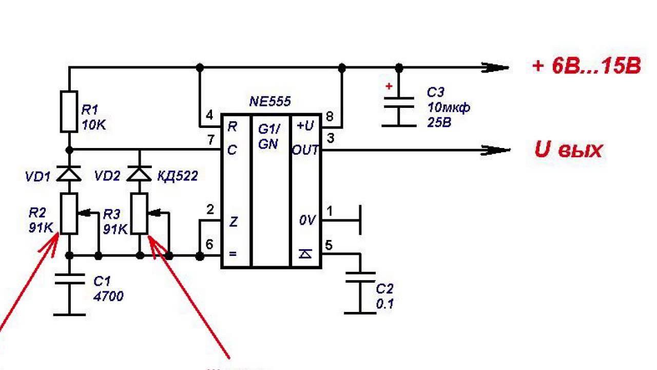 Схема генератора 555 регулировкой частоты