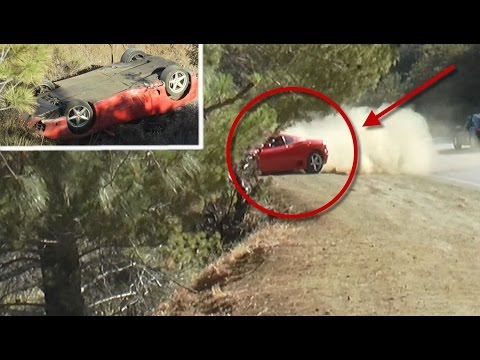 Brutal: Ferrari Crashes & Tumbles Down Steep Enbankment