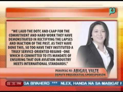 Palasyo, pinuri ang pagsusumikap ng DOTC at CAAP sa pagbalik ng PHL sa 'category 1' rating