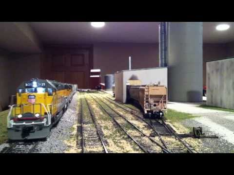 Union Pacific Local Classic UP SD40-2's rolling past the local ethanol plant!!!! UP HO scale