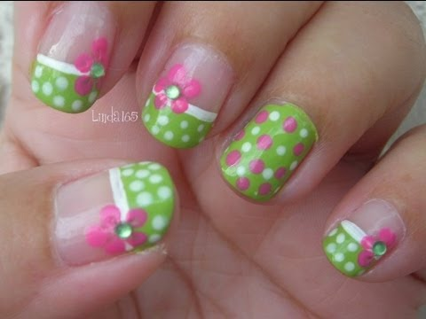 Nail Art - Green and Pink Polka Dot Bikini - Decoracion de Uñas