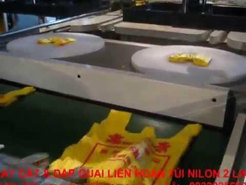 Máy cắt túiI & dập quai 2 line liên hoàn túi nilon