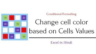 Change cell color based on cell values using Conditional Formatting in Excel | Hindi