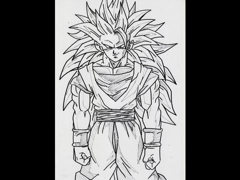 HOW TO DRAW GOKU SS3 FULL BODY 超サイヤ人 スリー 孫悟空 - YouTube