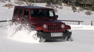 2013 Jeep Wrangler Snow Drive Freedom Top Review: Jeep Week Video #7 videos