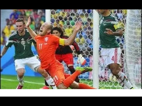 Robben Dive - The Funny, Best GIFs -  Netherlands vs Mexico - World Cup 2014