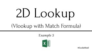 Using VLOOKUP with MATCH for 2d lookup Example 3 in Excel in Hindi