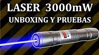 Laser Azul Ultra Potente 3000mW - Unboxing y Pruebas (Experimentar En Casa)