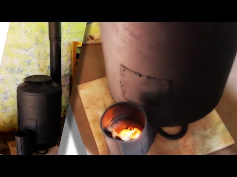 rocket stove space heater for superadobe earthbag house