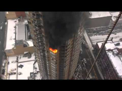 RAW VIDEO : 1 Dead and 2 Critically Hurt In Manhattan High-Rise Fire