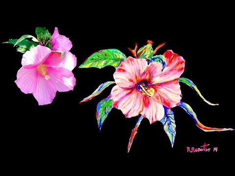 How to paint Pink Hibiscus Flower Petals using Acrylic as Watercolor impressionist by Rami Benatar