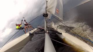 BartsGoPro Making Wake Hobie 21 Catamaran Sailing