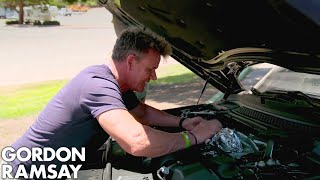 Gordon Ramsay Cooks Sea Bass On A Car Engine!