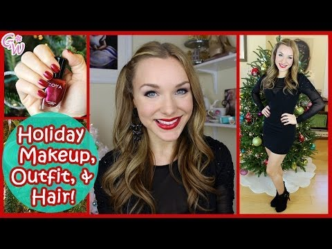 Holiday Party Makeup, Hair, & Outfit! ❤ Get Ready With Me!