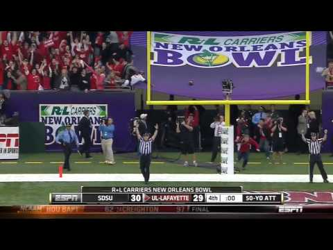 UL-Lafayette Beats SDSU with 50 Yard Field Goal-R+L Carriers New Orleans Bowl 2011