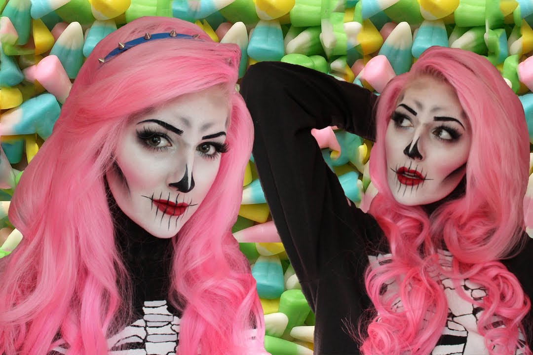 Creepy/Cute Skeleton Makeup Tutorial for Halloween  YouTube - Cute Halloween Makeup Tutorial