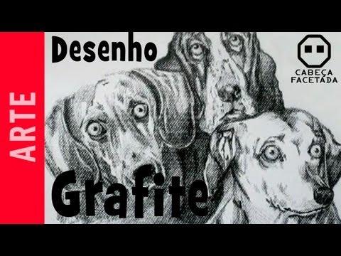 Desenho grafite cães - Cabeça Facetada - Rogério Della Valle Martins