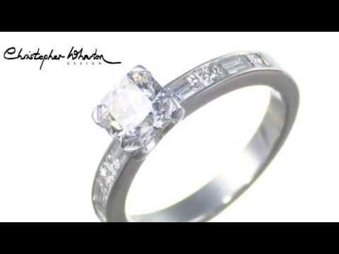 Platinum Radiant Cut Diamond Ring set with Princess & Baguette Cut Shoulders