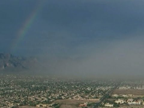 Raw: Dust Storm, Rainbow Over Phoenix