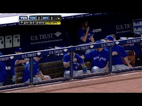Blue Jays duck for cover from foul ball