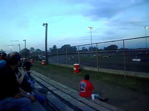Tony Stewart in heat race at Tri-City Speedway July 25, 2013