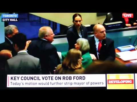 Thumbnail image for 'Mayor Rob Ford knocks over Councillor during November 18 motion of debate'