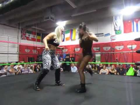 Gia Roman, Angel Crush at Platinum Pro Wrestling at Crossfit Squad in West Palm Beach Jan. 2020