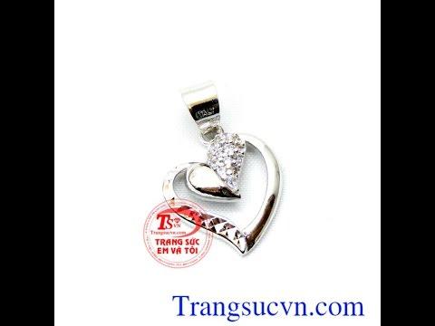 Mặt trái tim vàng trắng 18k đẹp Mặt dây vàng Mã số: TSVN011903