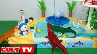 Doremon chế đồ chơi vui #3 - cá sấu tấn công Nobita đi tắm hồ bơi