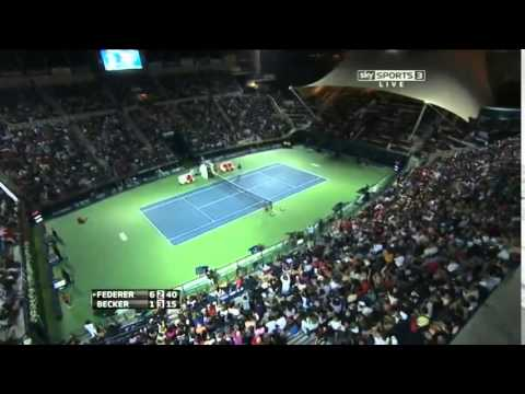 Roger Federer STUNNIG TWEENER vs Becker Dubai 2014   HOT SHOT   YouTube
