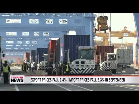 Both export and import prices fall in September on local currency's rise