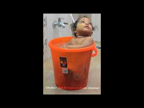 Kid playing in bucket full of water Kids playing videos Kids games to play Bhrigu Indian Kid Bhrigu