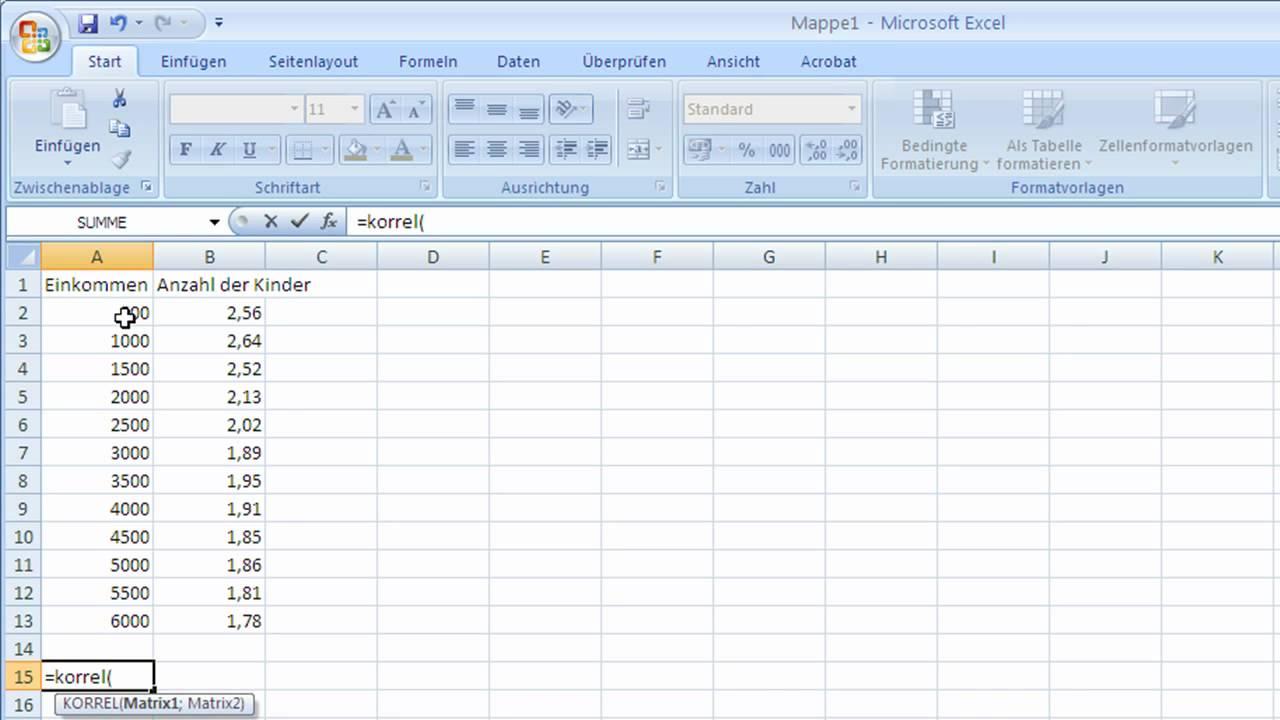 Kombinationen Berechnen Excel : excel 2007 funktionen korrel youtube ~ Themetempest.com Abrechnung