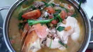 0159 Khách ăn gì: Cá chép nấu ngót ngon ơi là ngon - Cooking Carp in Vietnam