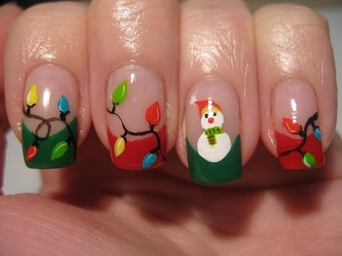 Nail art: Christmas lights and snowman