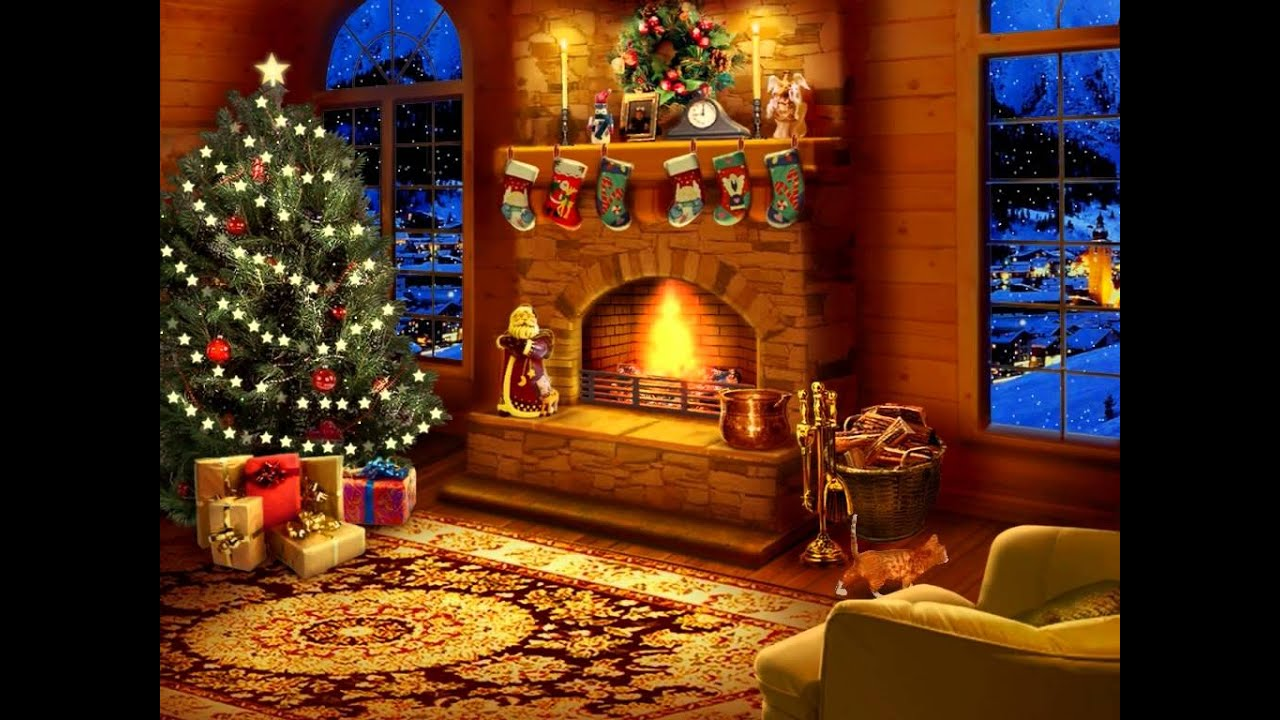 Christmas Decorated Fireplace Screensaver : Night before christmas screensaver